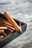 Дым поднимая от горящей сигары Стоковое Изображение