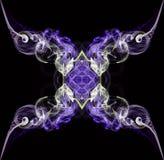 Дым пурпура и ecru абстрактный переплетенный изолированный на черной предпосылке Стоковая Фотография RF