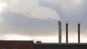 Дым фабрики в замедленном движении на пасмурный день видеоматериал