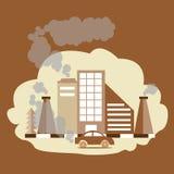 Дым фабрики СО2 CO загрязнения воздуха двуокиси окиси углерода от печной трубы иллюстрация вектора