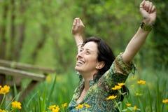 дышая женщина природы Стоковое Фото