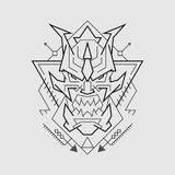 Дьявольская линия стиль маски иллюстрация вектора