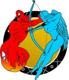 Дьявол и драка ангелов бесплатная иллюстрация