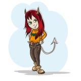 Дьявол маленькой девочки маленький Стоковые Изображения