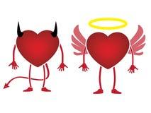 Дьявол сердца или значок ангела Стоковые Фото