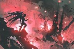 Дьявол стоя на руинах здания против горящего города иллюстрация вектора