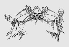Дьявол Lineart черепа Стоковые Фотографии RF