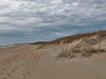 Дюны и океан Гаттераса накидки под облачными небесами Стоковая Фотография