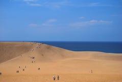 Дюны пустыни обозревая море Стоковые Изображения RF