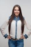 Длина женщины половинная изолированная на белизне Стоковое Фото
