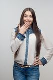 Длина женщины половинная изолированная на белизне Стоковые Фотографии RF