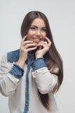 Длина женщины половинная изолированная на белизне Стоковая Фотография RF