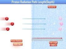 Длина пути радиации протона & x28; 3d illustration& x29; Стоковое фото RF