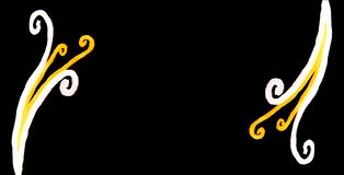 Длинная горизонтальная черная украшенная предпосылка украсила места с curvy каллиграфическими светлыми элементами Стоковые Изображения