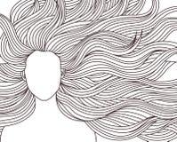 Длинная девушка красоты волос иллюстрация штока