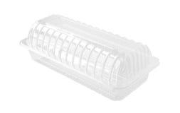 Длинная прозрачная коробка еды изолированная на белой предпосылке Стоковые Изображения RF