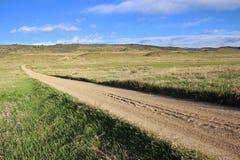 Длинная прямая дорога гравия в прерии Стоковые Фото