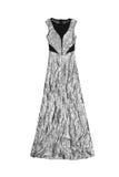 Длинное серебряное платье sequin, изолированное на белом backgorund Стоковые Фотографии RF