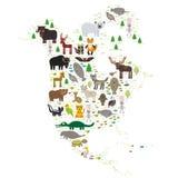 Длиннохвостый попугай Jagu скунса орла енота козы горы змейки гадюки ямы полярного медведя морского котика куропатки волка лошади иллюстрация штока