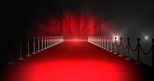 Длинный красный ковер с фарами против красной предпосылки бесплатная иллюстрация