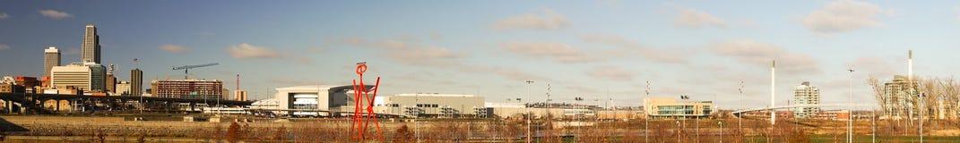 Длинный панорамный горизонт города Омахи Небраски городской Стоковое фото RF