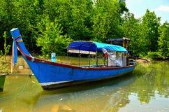 Длинн-замкнутая шлюпка на лесе мангровы Стоковое фото RF