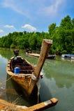 Длинн-замкнутая шлюпка на лесе мангровы Стоковое Изображение RF