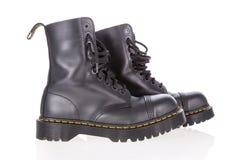 Д-р Ботинки работы куниц черные кожаные с стальным пальцем ноги стоковое изображение
