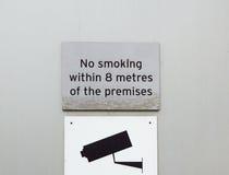 Для некурящих знак и знак наблюдения видео- на стене Стоковые Изображения