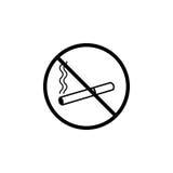 Для некурящих линия значок, запрещенный знак запрета, бесплатная иллюстрация