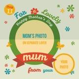 Для симпатичного дизайна поздравительной открытки мамы плоского Стоковая Фотография RF