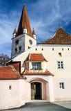 Евангелистская церковь-крепость в Cisnadie, Румынии стоковые изображения