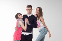 2 девочка-подростка возбужденного о подростке Стоковая Фотография RF