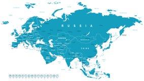 Евразия - ярлыки карты и навигации - иллюстрация Стоковое Фото