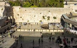 Евреи моля на голося стене в старом городе Иерусалима I Стоковое Изображение