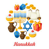 Еврейская карточка торжества Хануки с объектами праздника