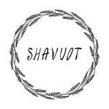 Еврейская карточка Shavuot праздника Колоски пшеницы венка и ухо, письменный текст руки Круглый венок солода с космосом для шабло иллюстрация вектора