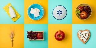 Еврейская концепция Shavuot праздника с молоком, молочными продучтами и плодами стоковая фотография