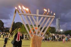 Еврейская община празднует фестиваль Хануки стоковое фото rf
