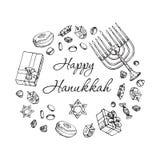 Еврейская поздравительная открытка Хануки праздника Комплект Doodle традиционных символов Chanukah изолированный на бело- dreidel иллюстрация штока