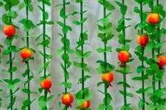 Еврейская предпосылка Sukkot праздника Еврейский фестиваль Sukkot Часть традиционной хижины sukkah с оформлением гранатового дере стоковое изображение