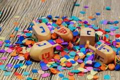 Еврейский натюрморт праздника составил элементов фестиваль Chanukah Хануки Стоковое Фото