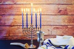 еврейский натюрморт Хануки праздника составил элементов фестиваль Chanukah Стоковое фото RF