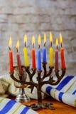 еврейский натюрморт Хануки праздника составил элементов фестиваль Chanukah Стоковое Изображение