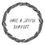 Еврейский праздник имеет радостную карточку Shavuot Колоски пшеницы венка и ухо, письменный текст руки Круглый венок солода с тек иллюстрация вектора