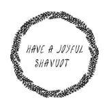 Еврейский праздник имеет радостную карточку Shavuot Колоски пшеницы венка и ухо, письменный текст руки Круглый венок солода с тек иллюстрация штока