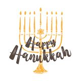 Еврейское приветствие Хануки праздника Традиционные символы Chanukah изолированные на бело- свечах menorah, glowin Дэвида звезды бесплатная иллюстрация