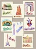 евроец городов визирует watercolours Стоковые Фото