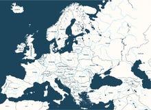 Европа высоко детализировала политическую карту с главными реками Все элементы отделенные в отделяемых слоях иллюстрация штока
