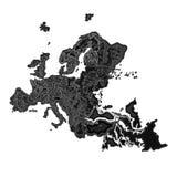 Европа на ноче как вектор гравировки Стоковые Фотографии RF